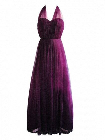 Purple Multi-way Lace Up Back Tulle Maxi Prom Dress