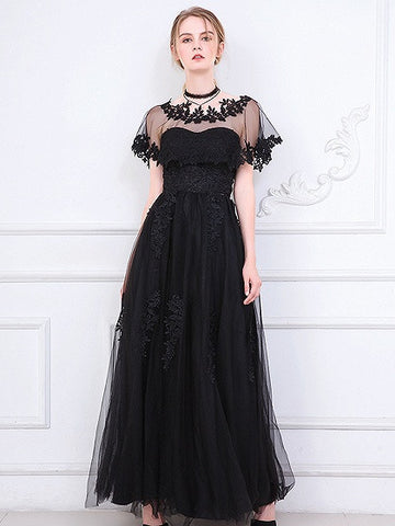 Black Bandeau Embroidery Tulle Maxi Prom Dress With Sheer Mesh Cape