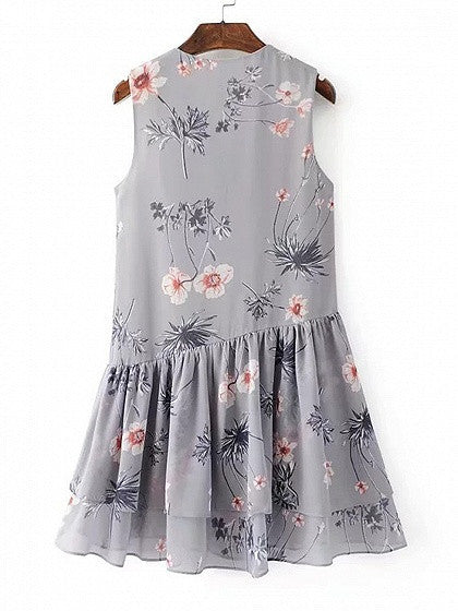 Gray Floral Lace Up Front Sleeveless Babydoll Dress
