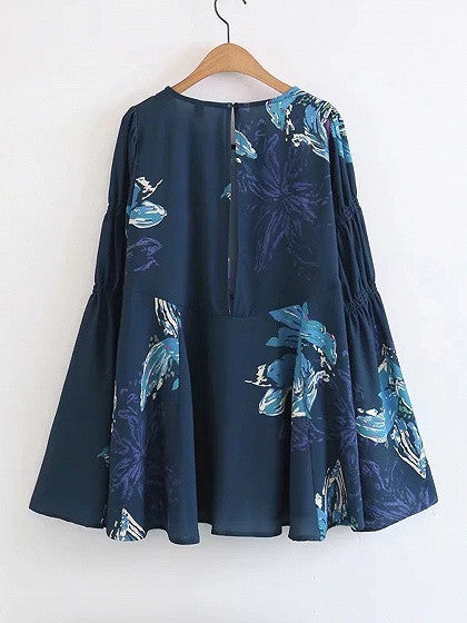 Navy Floral Keyhole Back Flared Sleeve Mini Dress