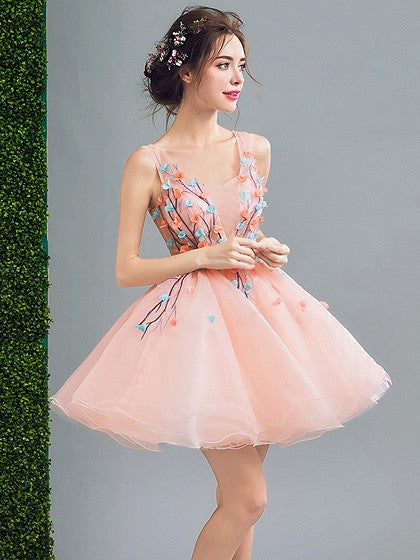 Pink 3D Flower Embellished Lace Up Back Organza Homecoming Dress