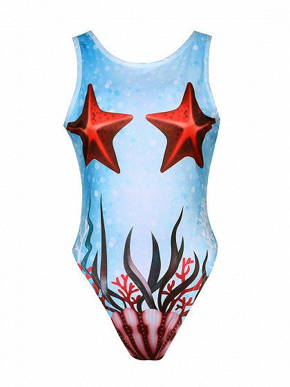 Blue Undersea Starfish Print Open Back Swimsuit