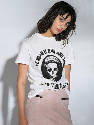 White Letter And Skull Print Short Sleeve T-shirt
