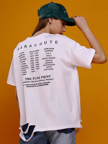 White Letter Print Back Ripped Short Sleeve T-shirt
