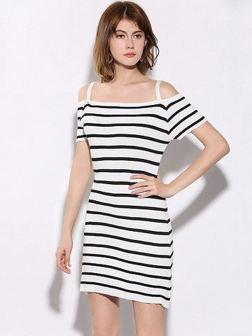 Monochrome Striped Cold Shoulder Knit Cami Bodycon Dress