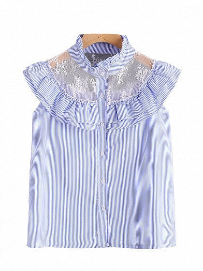 Blue Stripe High Neck Lace Insert Ruffle Cape Overlay Shirt