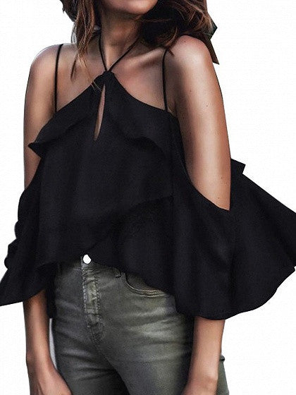Black Halter Cold Shoulder Ruffle Keyhole Front Cami Top