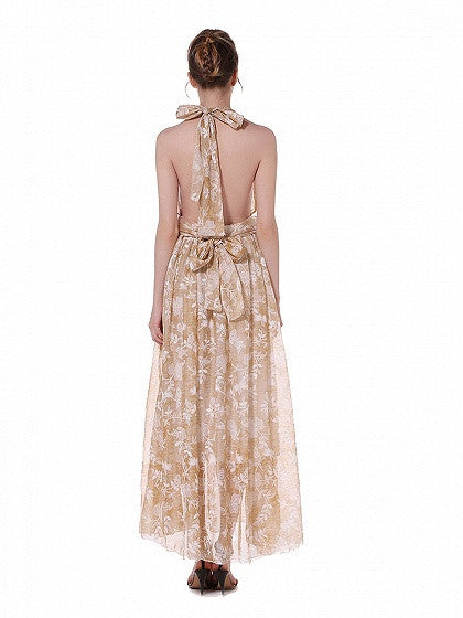 Beige Halter Tie Floral Print Open Back Maxi Dress