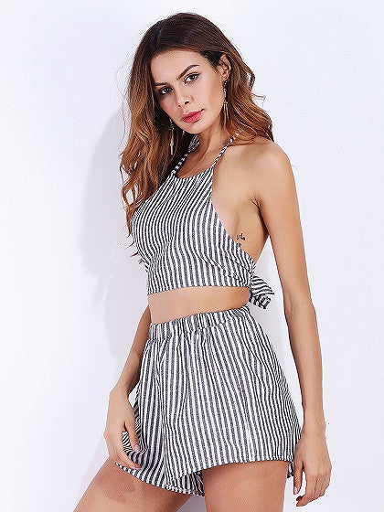 Dark Gray Stripe Halter Open Back Crop Top and Shorts