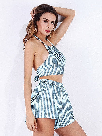 Blue Stripe Halter Open Back Crop Top and Shorts