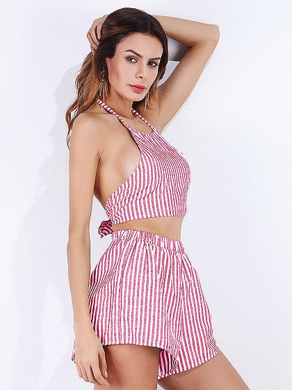 Pink Stripe Halter Open Back Crop Top and Shorts