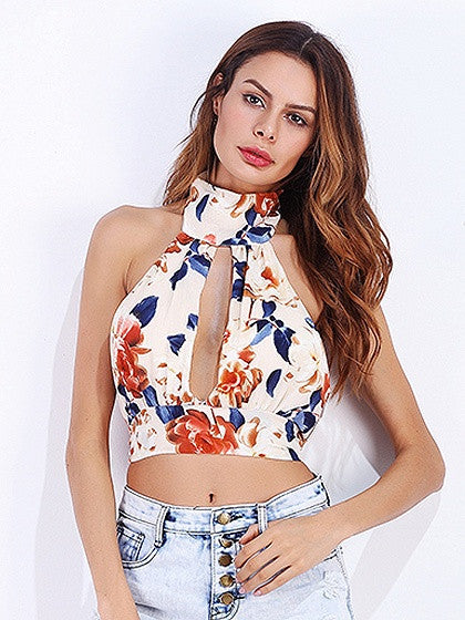Polychrome High Neck Floral Print Slit Front Open Back Crop Top