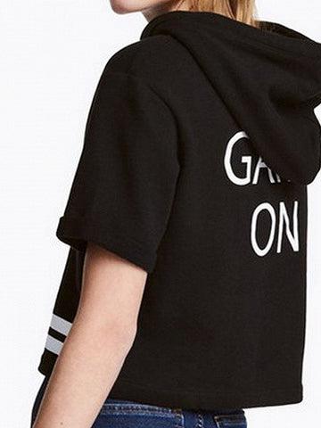 Black Slogan Printed Back Hooded Short Sleeve T-shirt