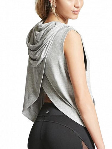 Gray Hooded Wrap Back Sleeveless T-shirt