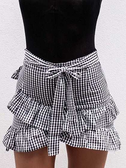 Monochrome Gingham Cross Ruffle Tie Waist Mini Skirt