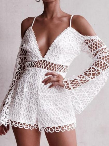 White Cold Shoulder Plunge Cut Out Detail Flare Sleeve Lace Playsuit