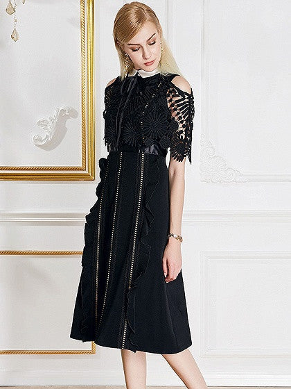 Black Cold Shoulder Lace Panel Pointed Collar Ruffle Trim Midi Dress