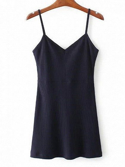 Navy V-neck Spaghetti Strap Ribbed Bodycon Mini Dress