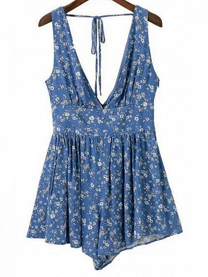 Blue Plunge V-neck Floral Backless Romper Playsuit