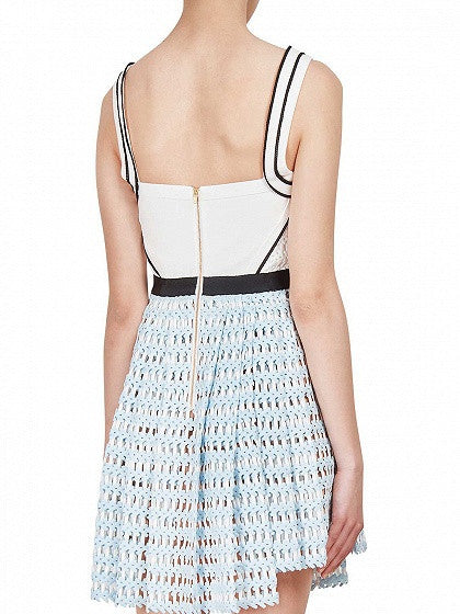 White and Blue Button Front Cut Out Trimmed Skater Dress