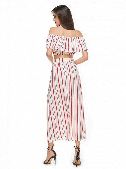 Red Stripe Off Shoulder Ruffle Crop Top and Split Maxi Skirt