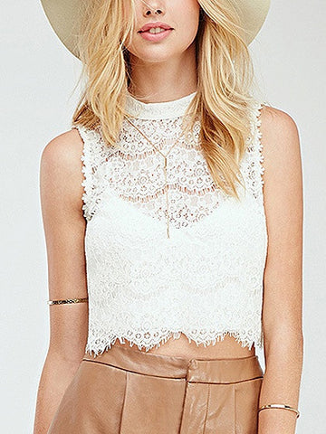 White High Neck Keyhole Back Scallop Hem Lace Tank Crop Top