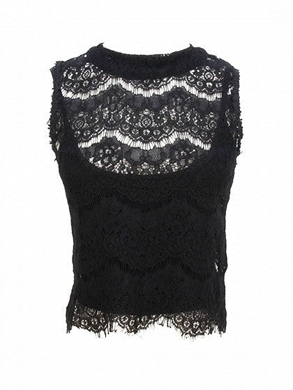 Black High Neck Keyhole Back Scallop Hem Lace Tank Crop Top