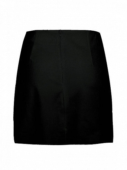 Black Wrap Tie Asymmetric Hem Mini Skirt
