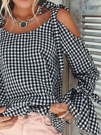 Monochrome Gingham Cold Shoulder Bow Tie Long Sleeve Top