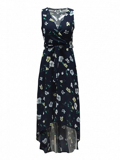 Navy Blue Wrap V Neck Sleeveless Floral Print Tie Waist Hi-lo Dress