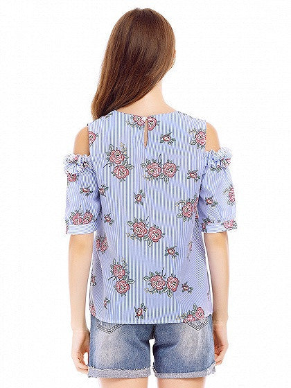 Blue Stripe Cold Shoulder Floral Short Sleeve Blouse