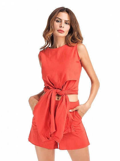 Orange Tie Front Sleeveless Crop Top And Shorts