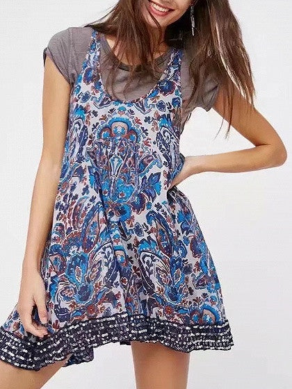 Blue Tribal Print Boho Mini Vest Dress