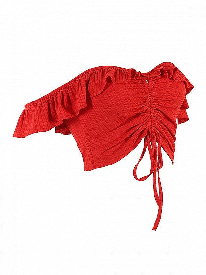 Red Off Shoulder Ruffle Drawstring Ruched Crop Top