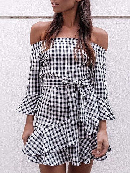 Monochrome Gingham Off Shoulder Asymmetric Ruffle Bell Sleeve Dress