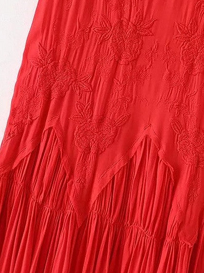 Red V-neck Embroidery Spaghetti Strap Maxi Dress