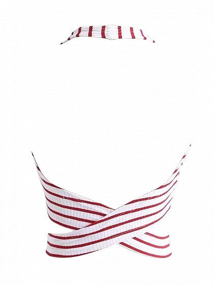 Red Stripe Halter Back Cross Backless Tie Front Ribbed Crop Top