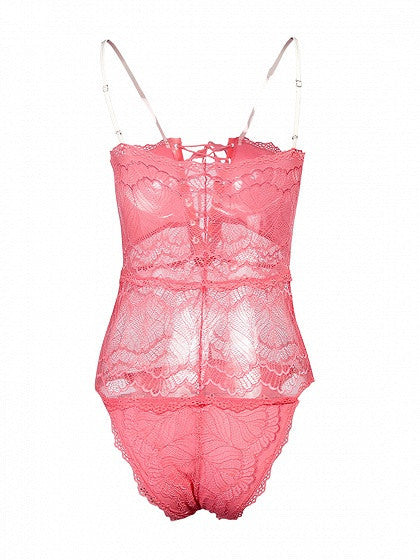Pink Eyelet Lace-up Sheer Lace Cami Bodysuit