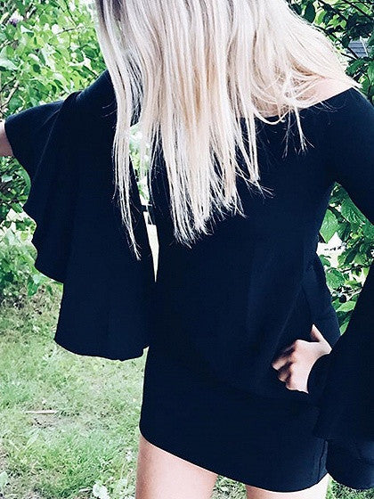 Black Off Shoulder Ruffle Flare Sleeve Mini Dress