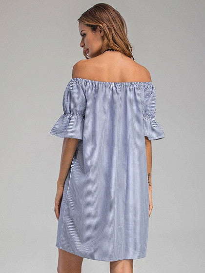 Blue Stripe Off Shoulder Pom Pom Tassel Shift Dress
