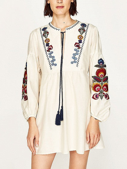 White Embroidery Floral Tie Front Long Sleeve Babydoll Dress
