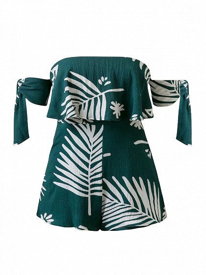 Green Off Shoulder Leaf Print Tie Sleeve Romper Playsuit