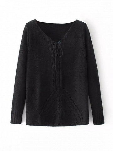Black Lace Up Cable Knit Trim Sweater