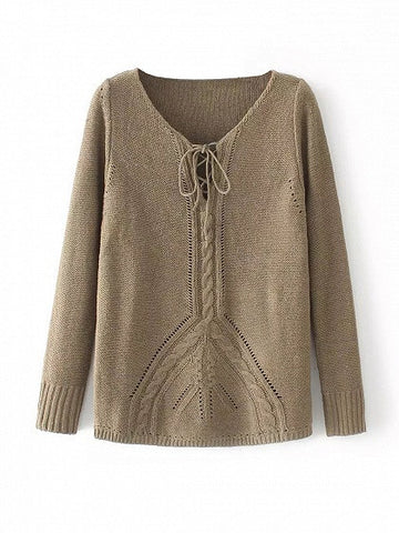 Dark Khaki Lace Up Cable Knit Trim Sweater
