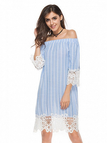 Blue Stripe Off Shoulder Lace Hem 3/4 Sleeve Dress
