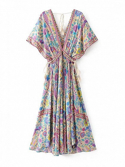 Polychrome V-neck Floral Backless Maxi Dress