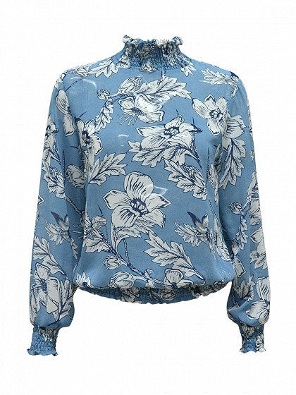Blue High Neck Floral Long Sleeve Bkouse