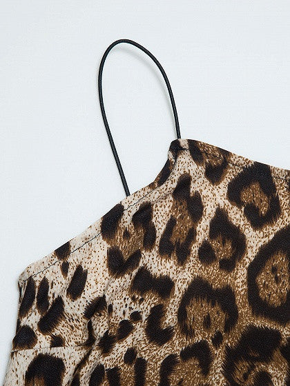 Leopard Print Spaghetti Strap Mini Dress
