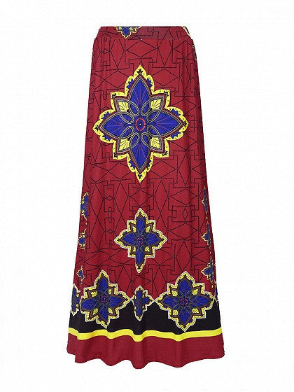 Red High Waist Geo-tribal Print Maxi Skirt