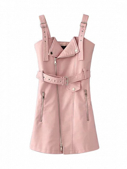 Pink Asymmetric Zip Front Belted Waist Leather Look Tank Dress